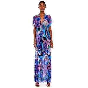 NWT Zara Maxi Dress Sheer V Neck Short Sleeve M